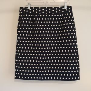 Banana Republic Pencil Skirt in Navy with Dots
